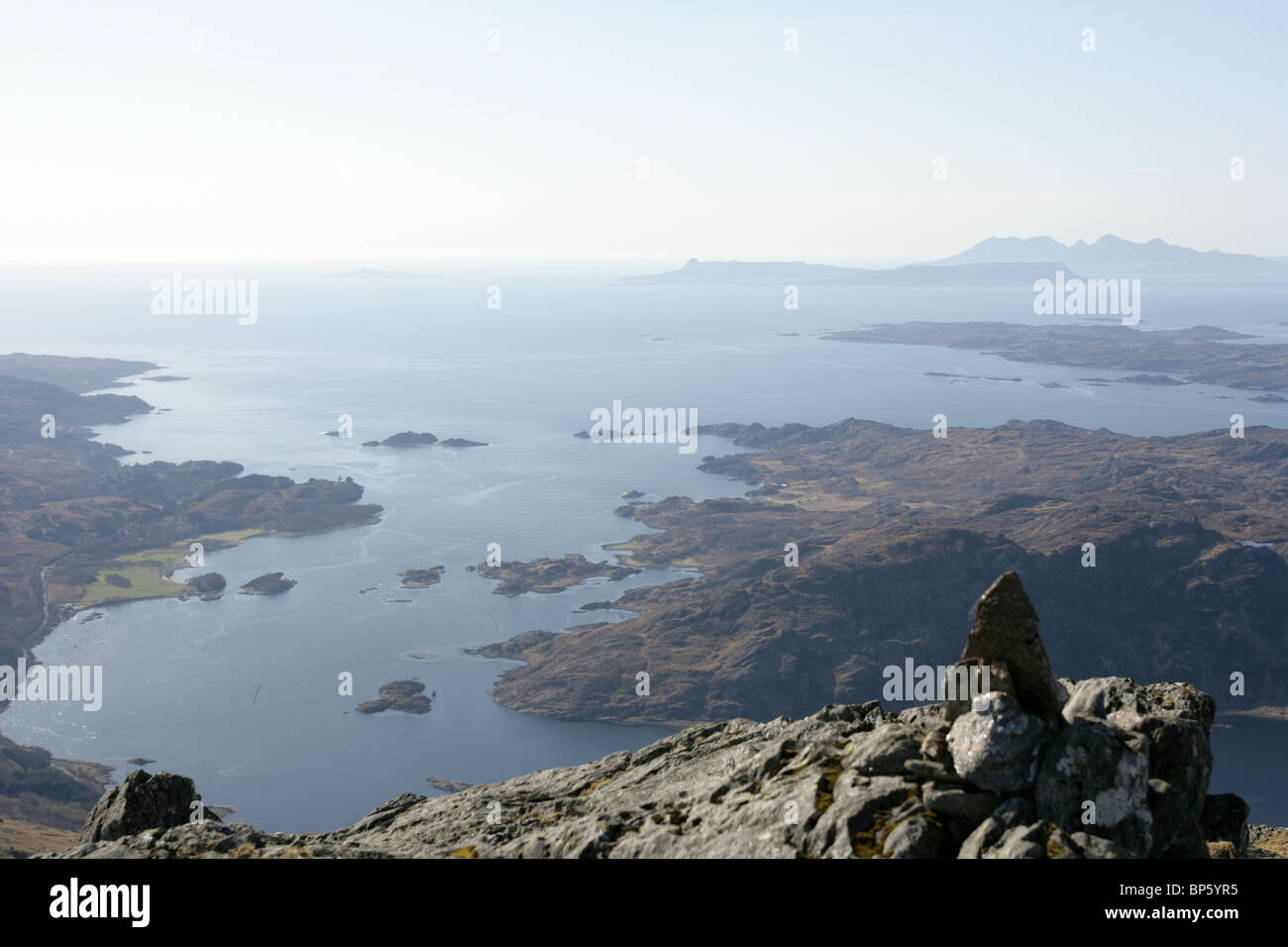 View from near the top of Rois-bheinn looking down onto Loch Ailort. - Stock Image
