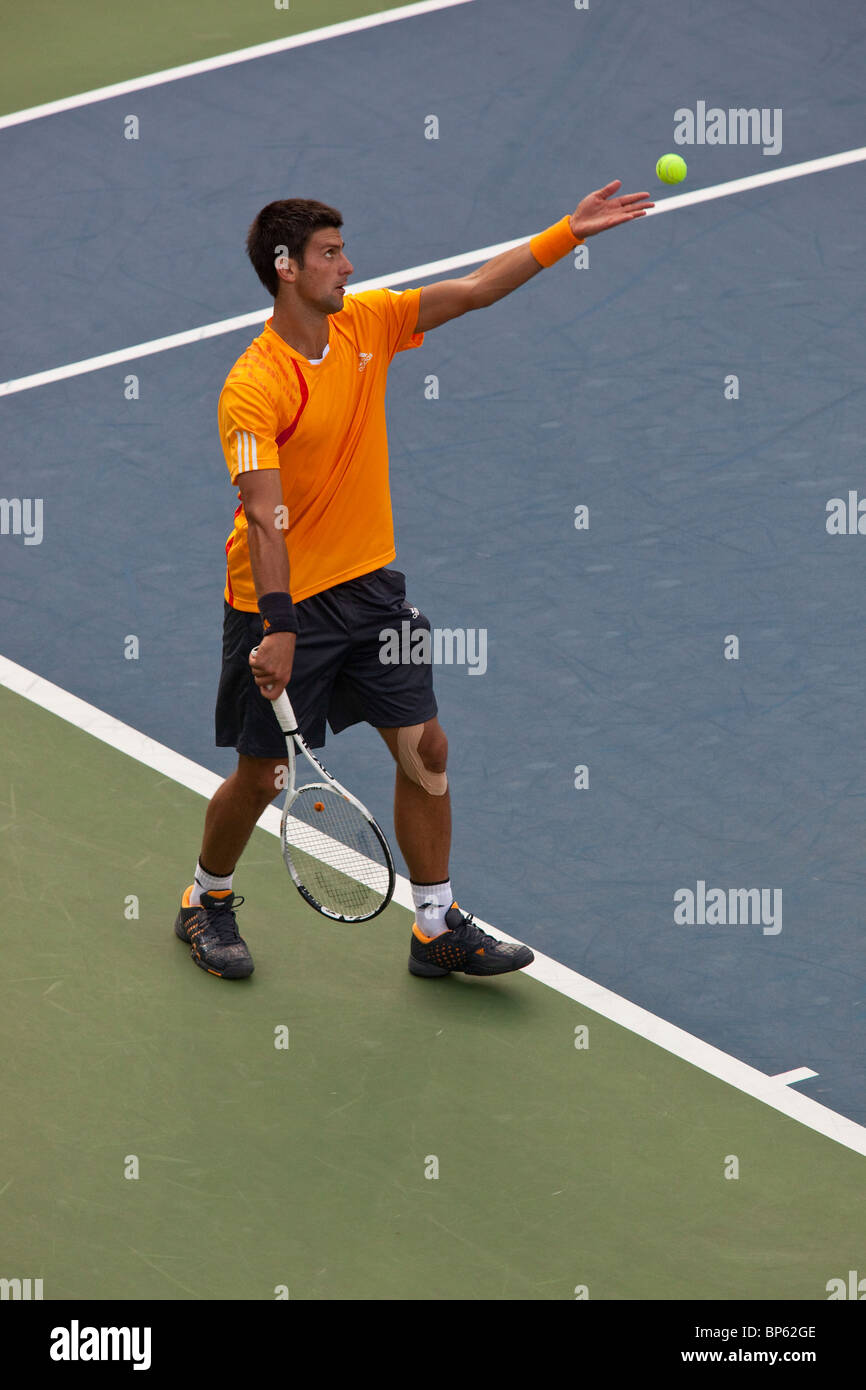 Novak Djokovic (SRB) competing in the men's singles semi finals at the 2009 US Open Tennis - Stock Image