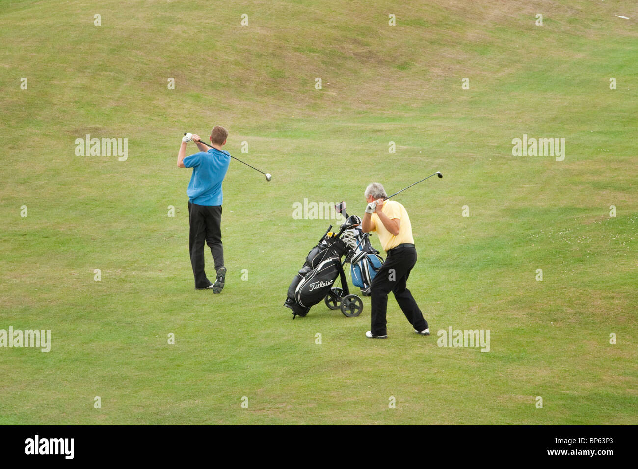Golfers Hythe Golf Course Kent - Stock Image