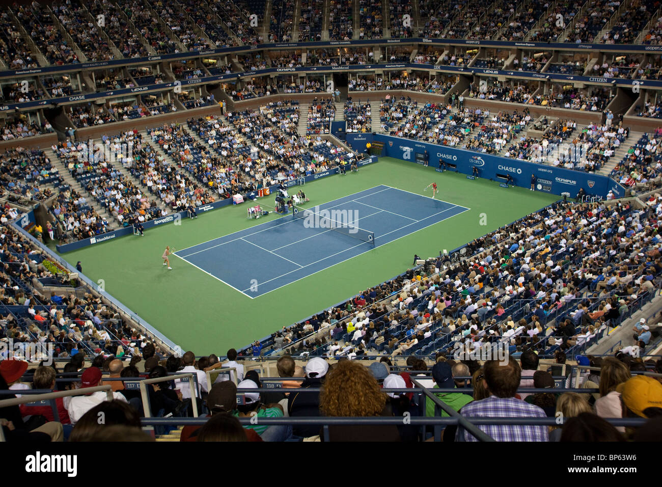 Women's Singles Final between Kim Clijsters (BEL) and Caroline Wozniacki (DEN) competing at the 2009 US Open - Stock Image