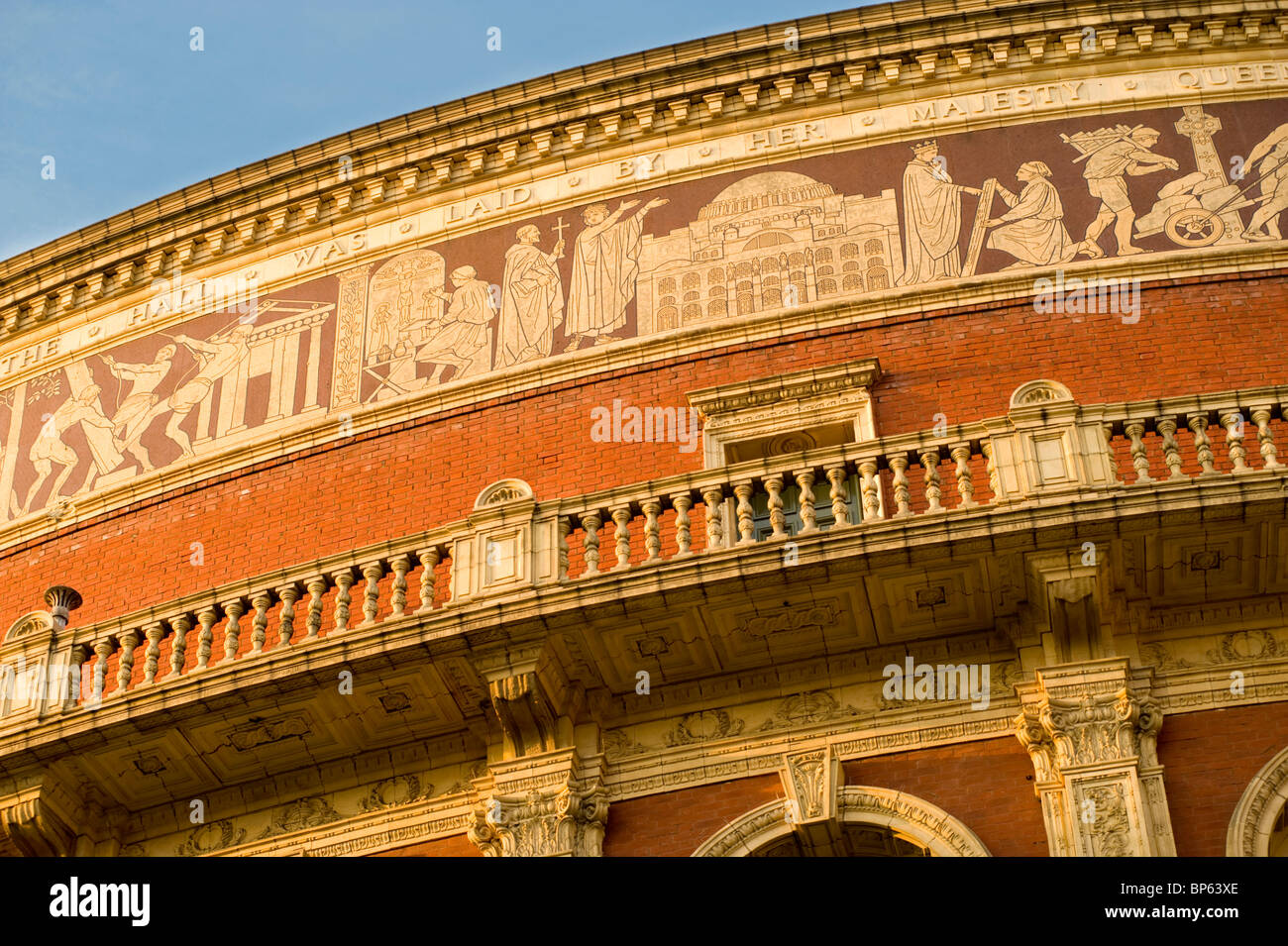 Detail of the exterior facade of the Royal Albert Hall in Kensington, London, England, UK. - Stock Image