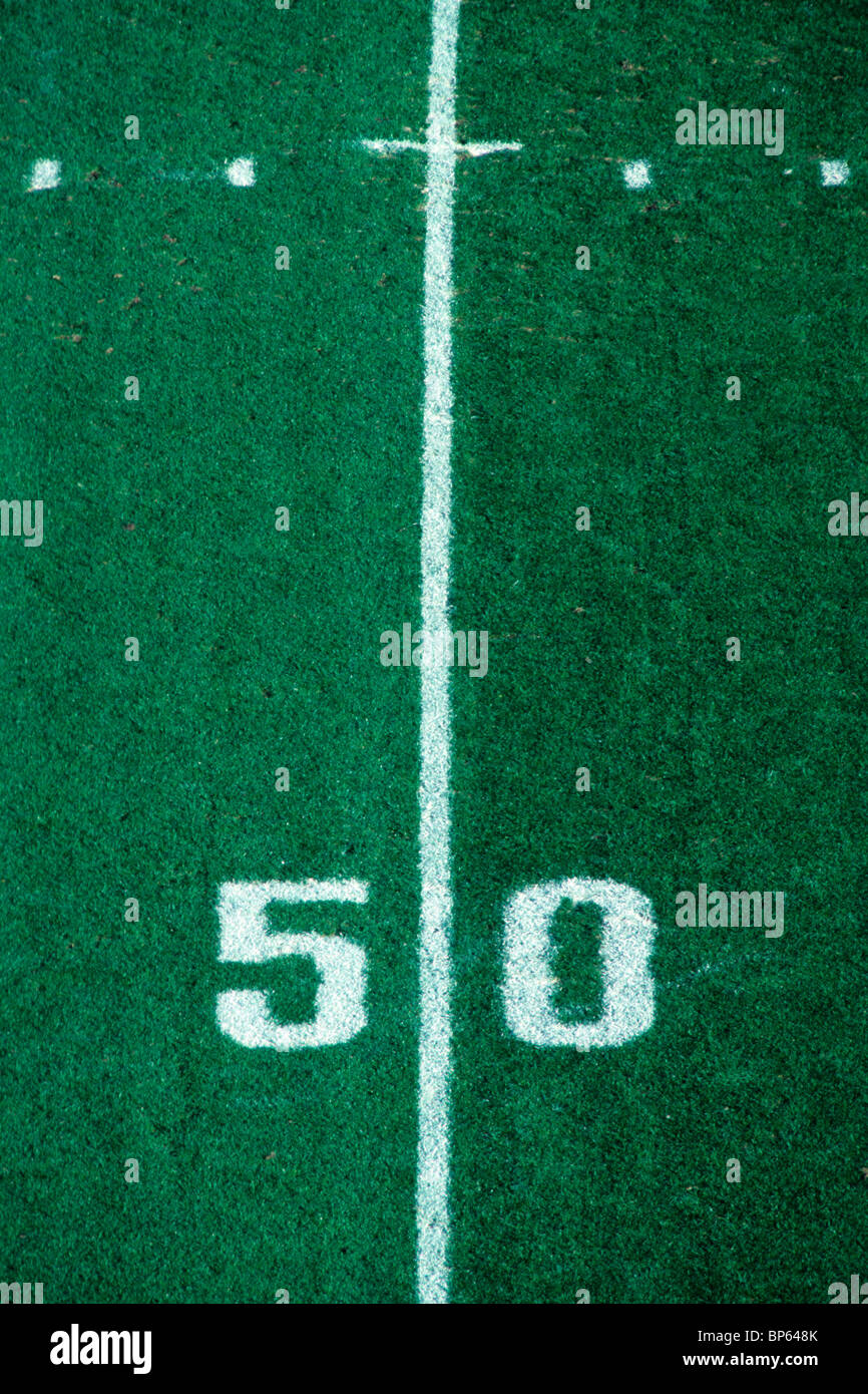 50 yard line American Football - Stock Image