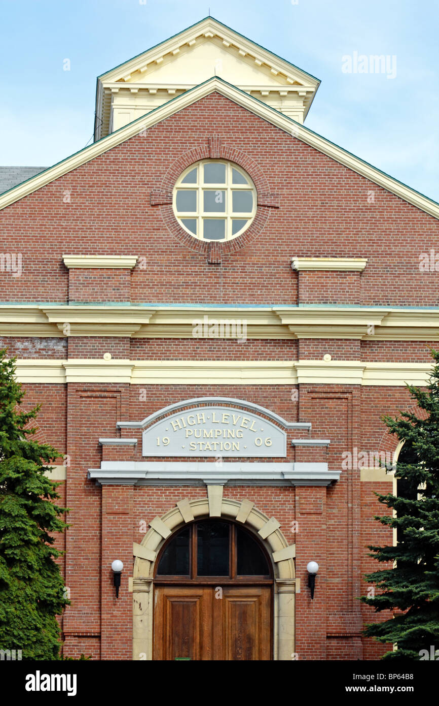 Historic building of High Level Pumping Station a municipal water pumping station built in 1906 in Toronto - Stock Image