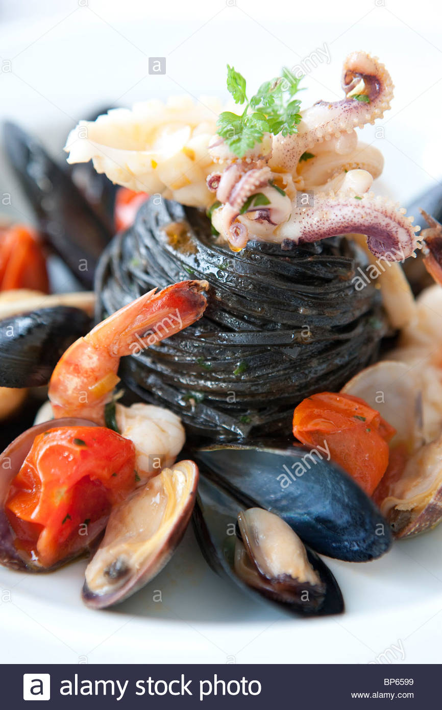 Seafood Pasta - Stock Image