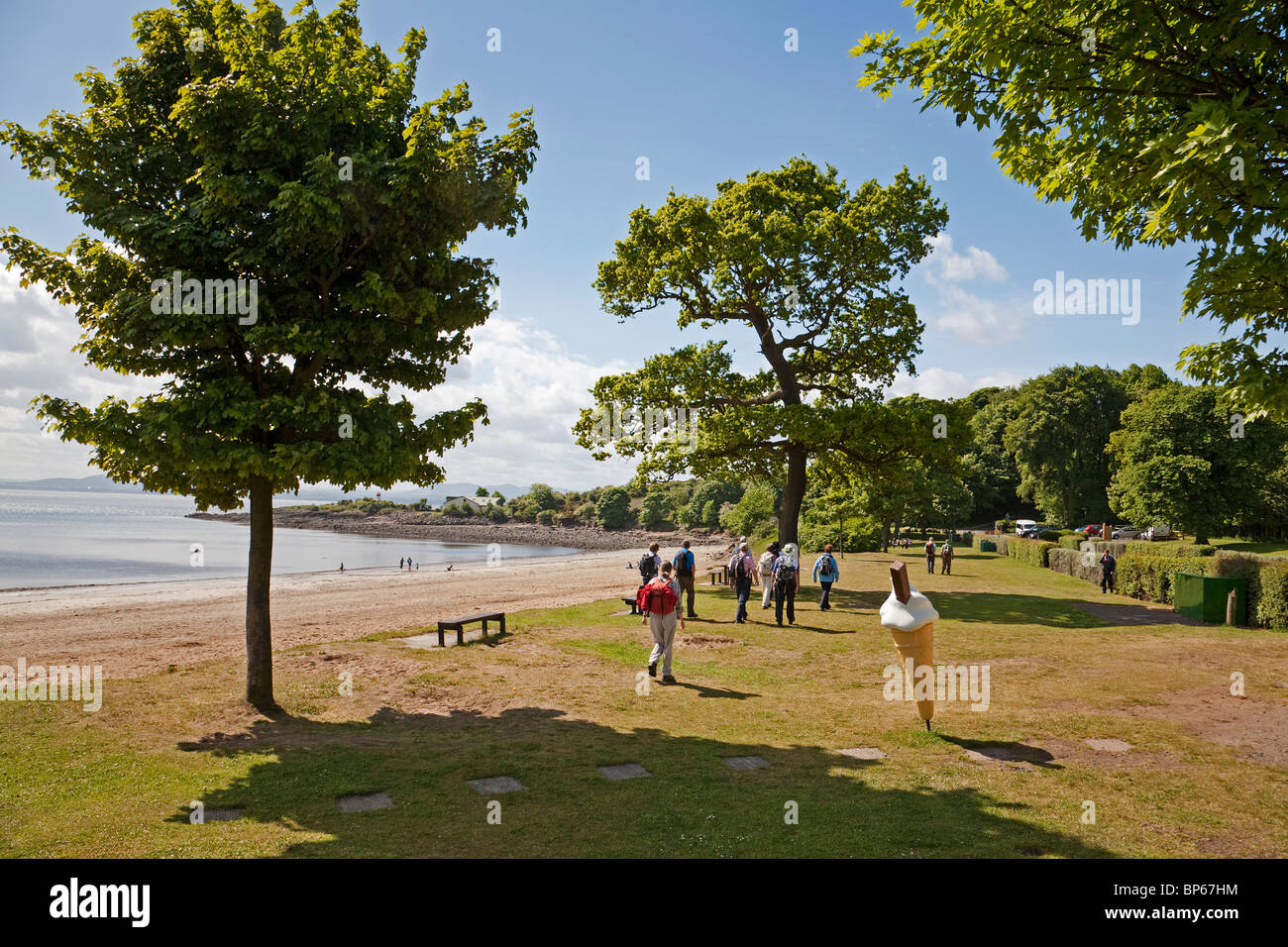 A Rambling Club on the Fife Coastal Path at Silver Sands, Aberdour - Stock Image