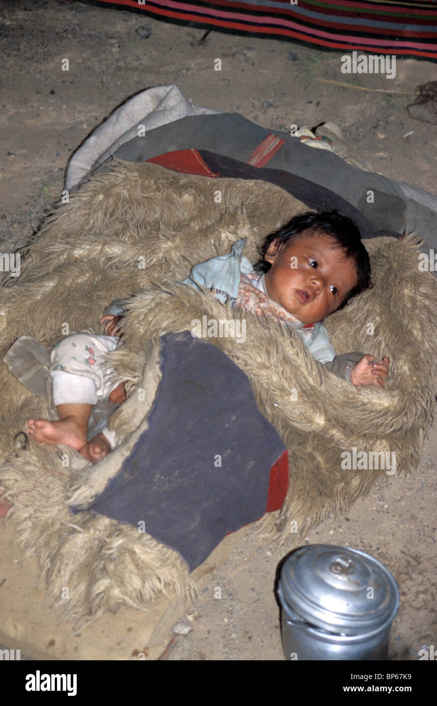 Baby wrapped in animal skin rug in Western Tibet - Stock Image