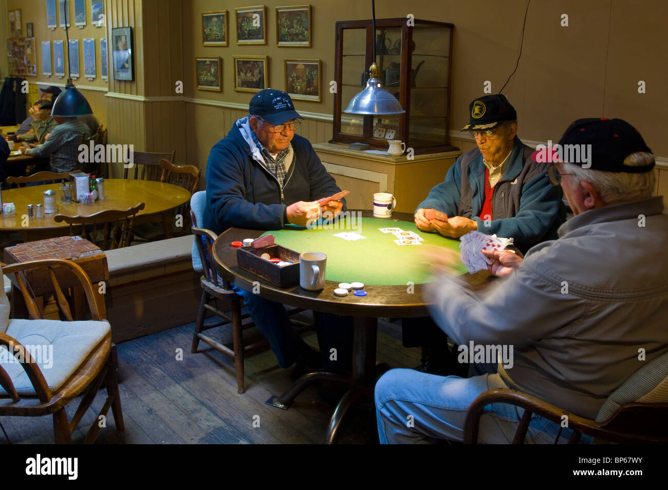 Old Men Playing Cards At Card Table At 9:00am On A Weekend Morning At Pappa  Joeu0027s Restaurant In Ferndale, California