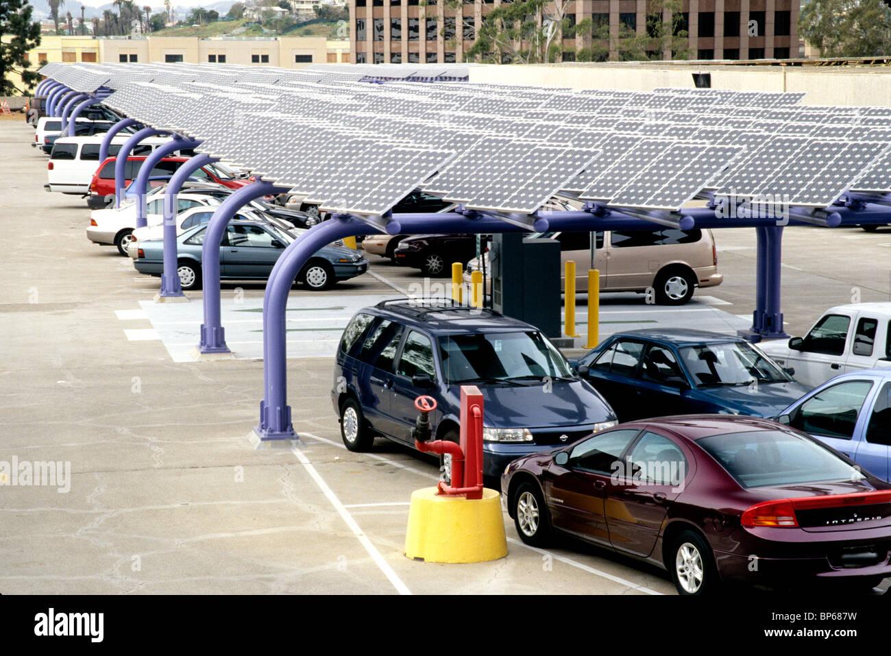 Solar Panels, parking area - Stock Image