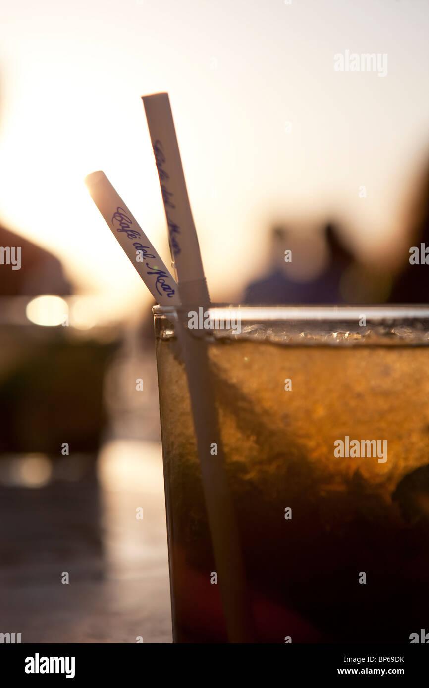 Mojito at the Cafe del Mar in Ibiza - Stock Image