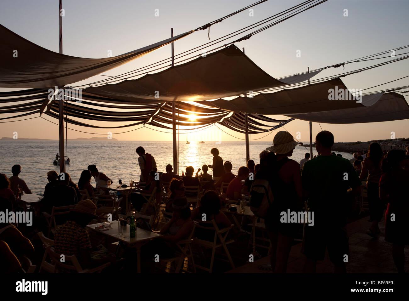 Cafe del Mar Ibiza, Spain - Stock Image