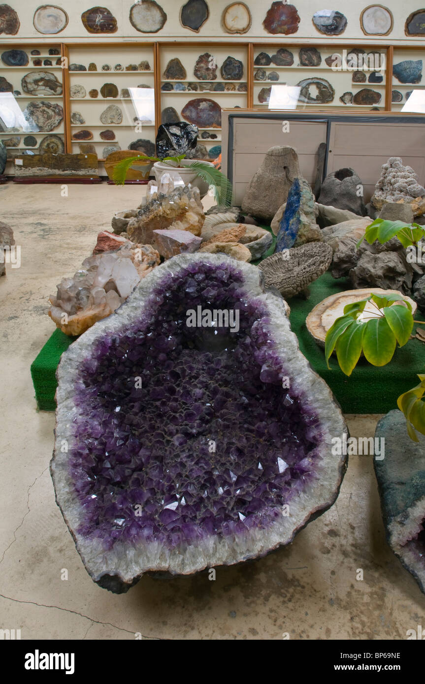 Amethyst and other rock and geology specimens on display at Chapman's Gem & Mineral Shop & Museum - Stock Image