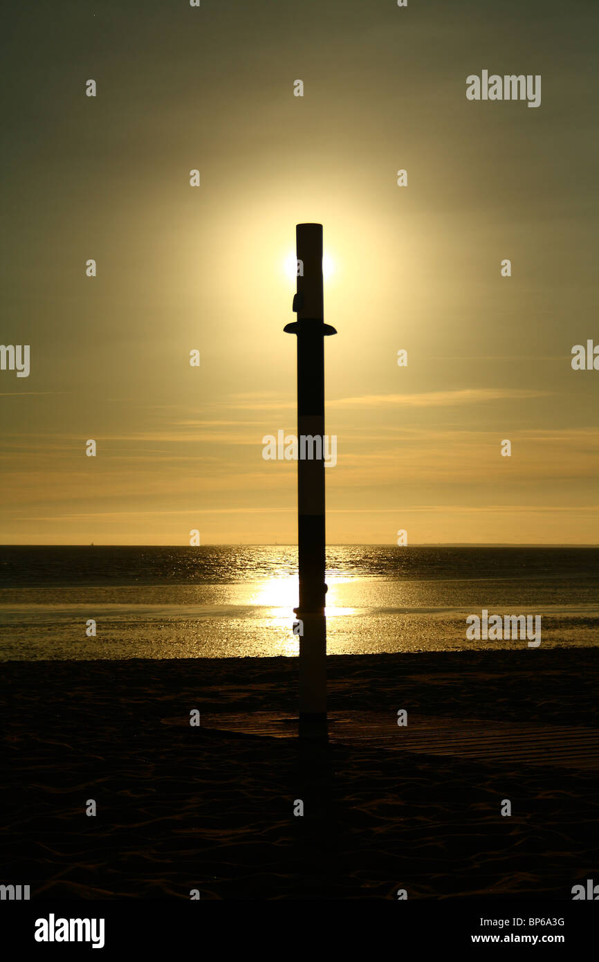 Sunset in France, the Atlantique Ocean. Stock Photo