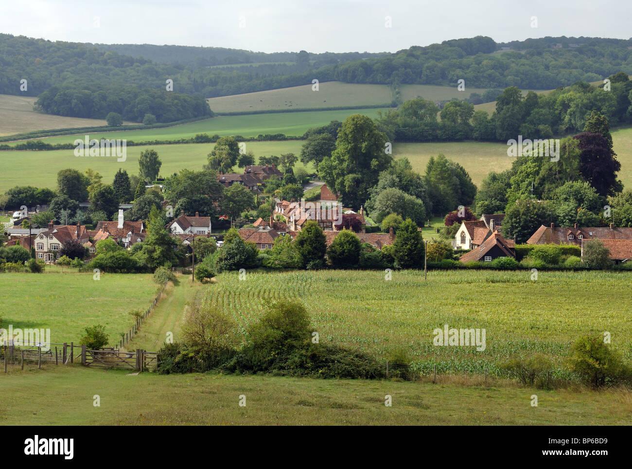 Turville village and Chiltern landscape in summer, Buckinghamshire, England, UK - Stock Image