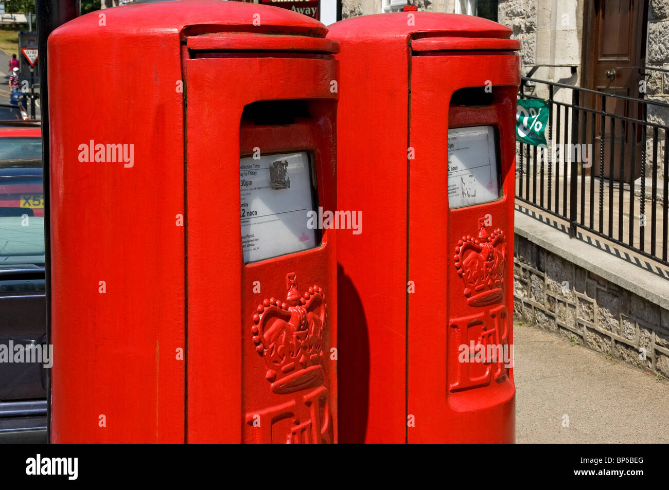 2 postboxes outside Grange-over-Sands post office Cumbria England UK United Kingdom GB Great Britain - Stock Image