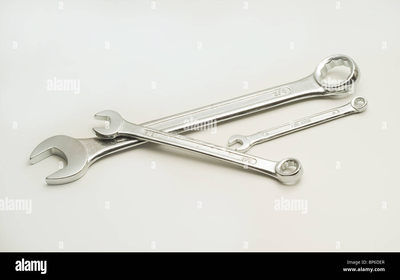 Three spanners - Stock Image