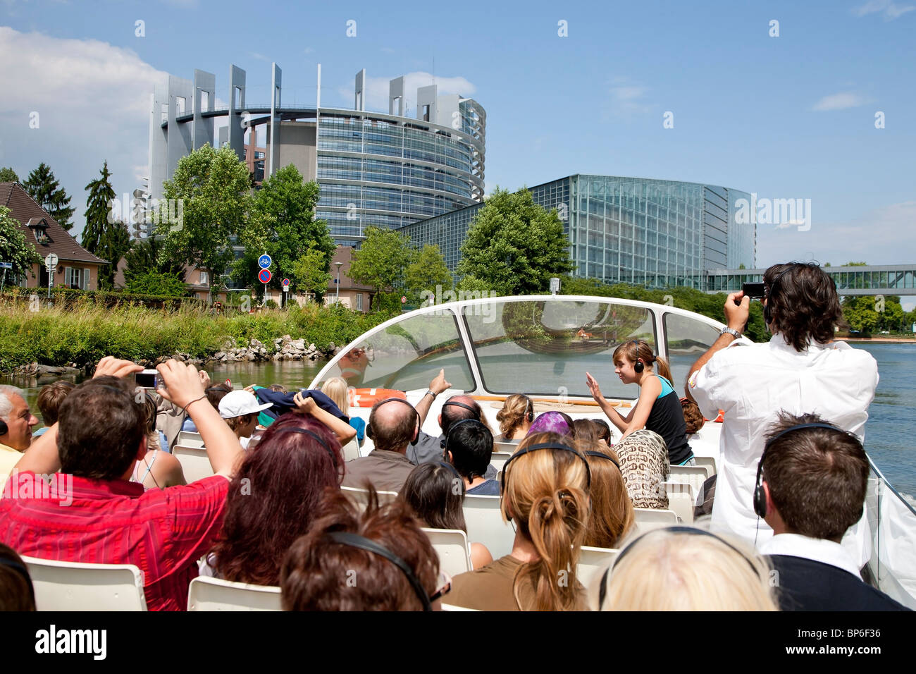 Boat trip along the river at the European parliament in Strasbourg, France Stock Photo