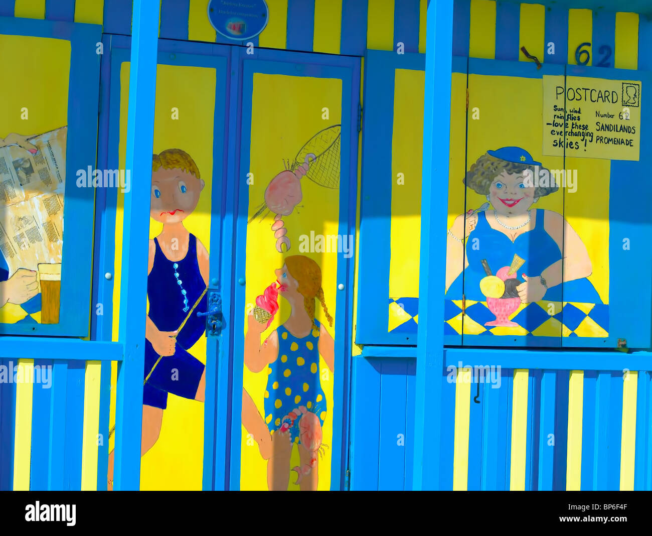 Colorful,artistic decoration,depicting holiday lifestyle on a beach chalet at Sutton-on-sea,Lincolnshire,UK. - Stock Image