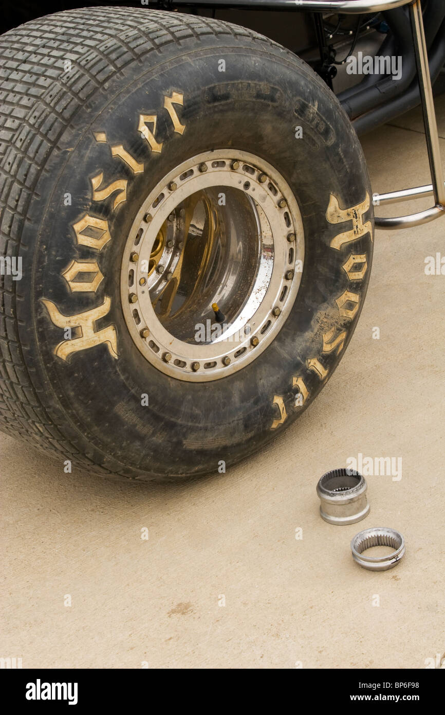 Hoosier Race Tire and Wheel Spacers. Nonwinged Sprint cars. Dirt track at Eldora Speedway, New Weston, Ohio, USA. - Stock Image