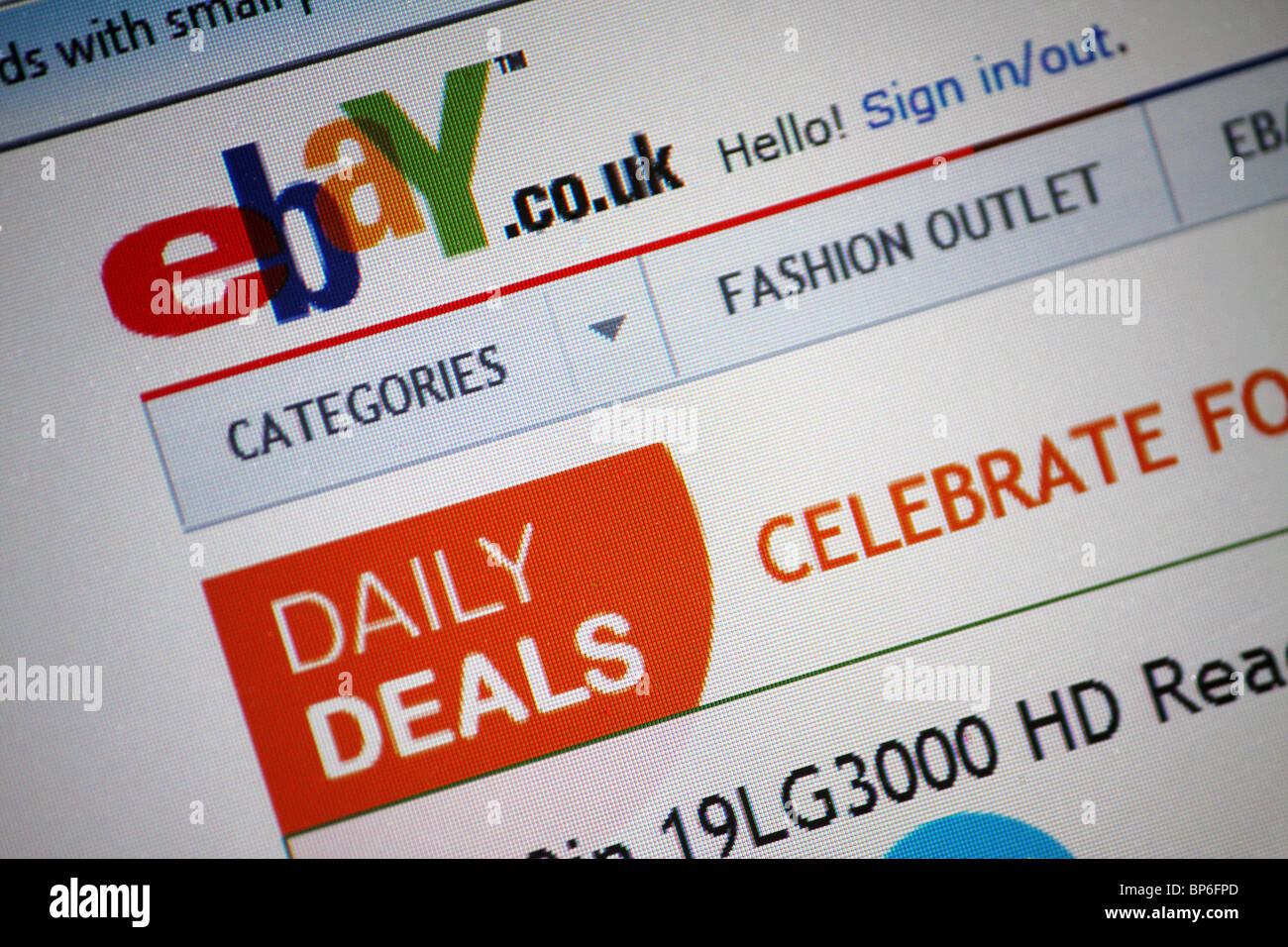 Ebay Co Uk Website Screen Photograph Of The Auction Shopping Site On Stock Photo Alamy