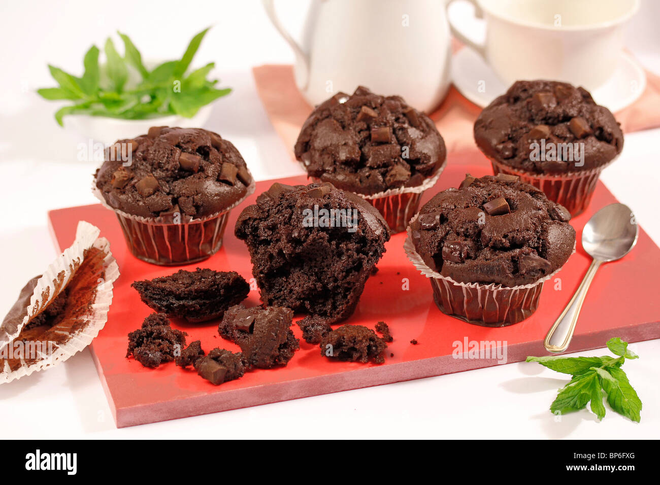 Giant chocolate muffins. Recipe available. - Stock Image