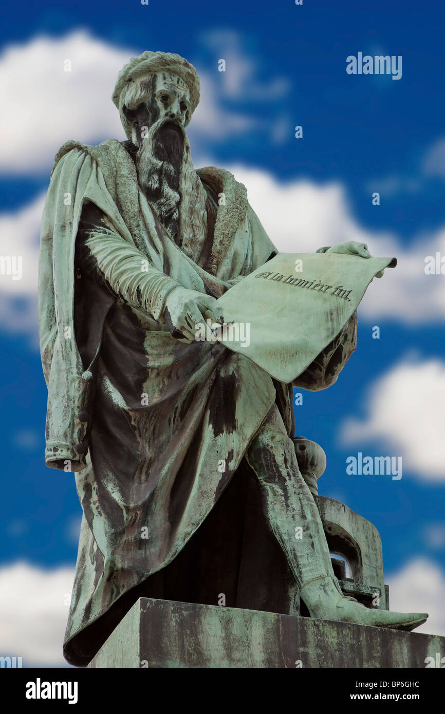 Statue of Gutenberg Johannes Gensfleisch, the inventor of the movable type printing - Stock Image