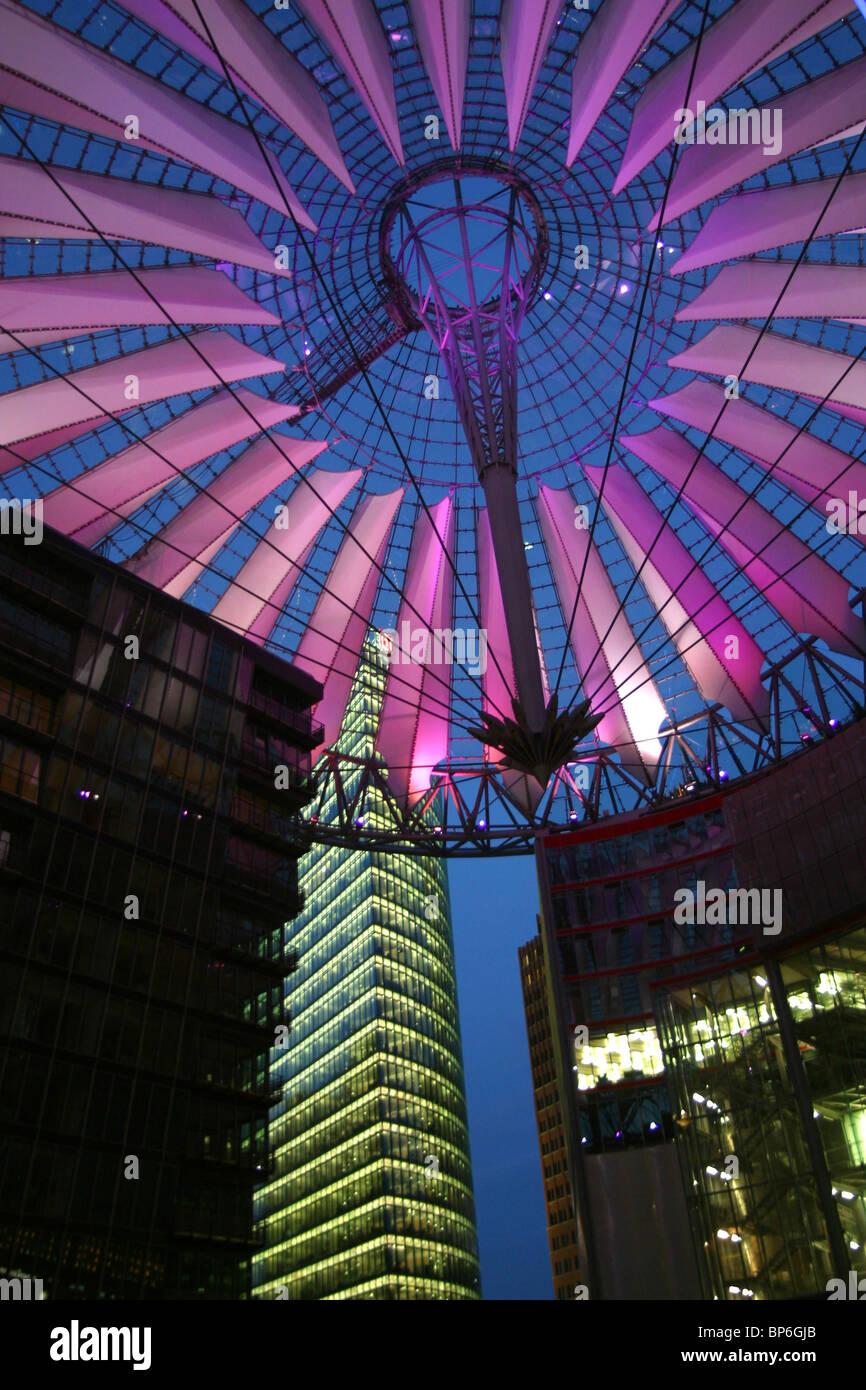 Sony Center at Potsdamer Platz at night in Berlin, Germany - Stock Image