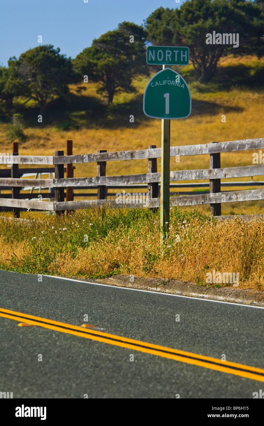 Highway One North direction sign along roadside at Albion, Mendocino County, California - Stock Image