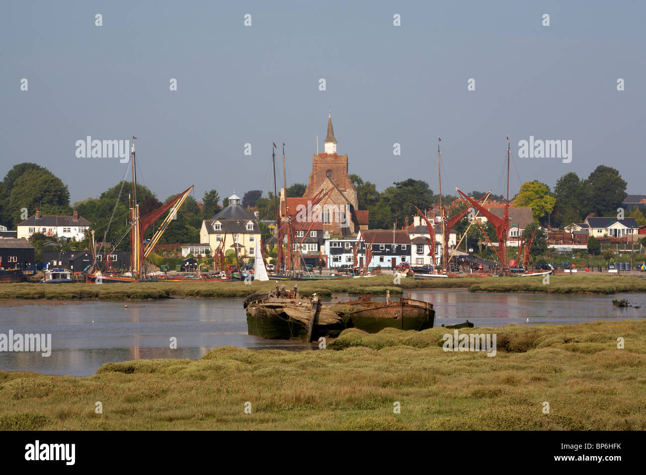 England Maldon Essex River Blackwater Hythe Quay from Heybridge  Thames sailing barges rotting hulks of Scotia and Stock Photo