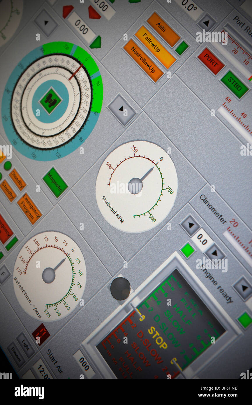 ECDIS Electronic Chart Display Information Systems simulator - Stock Image