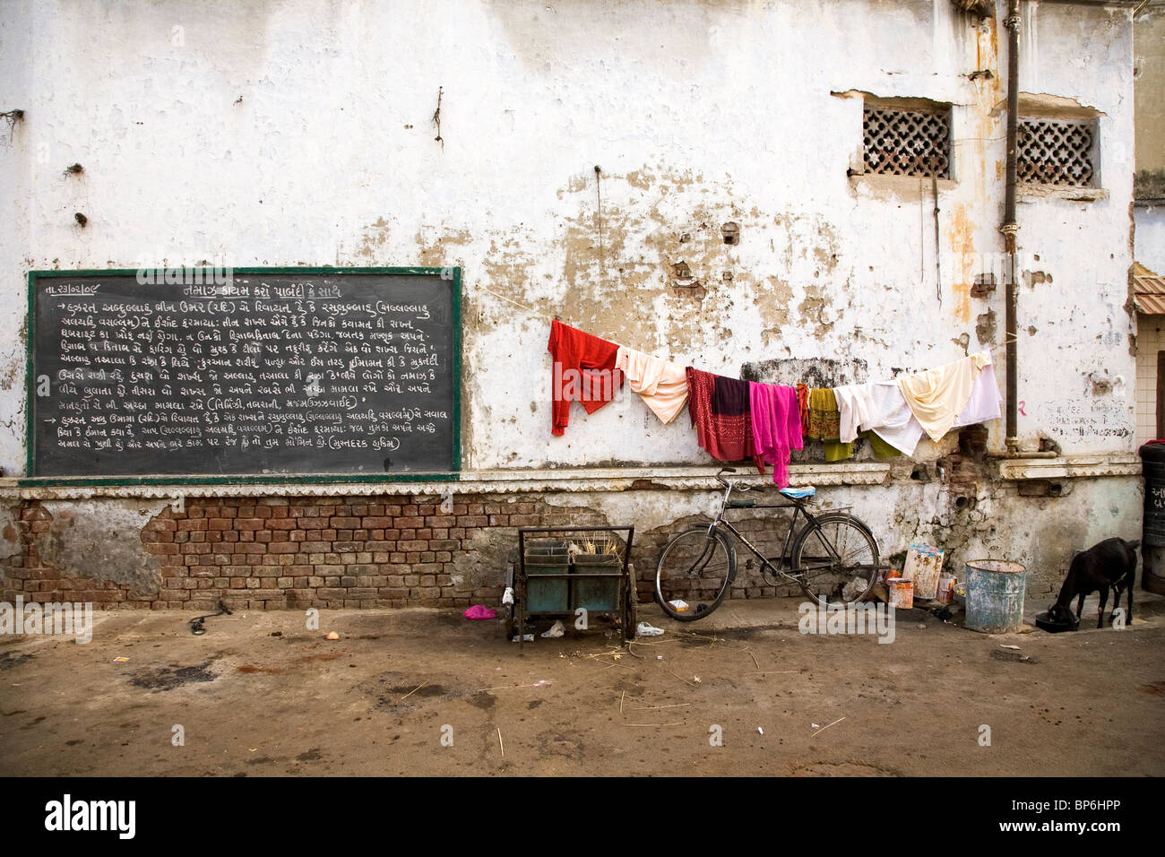 A scene from a back street in Ahmedabad, Gujarat, India. Stock Photo