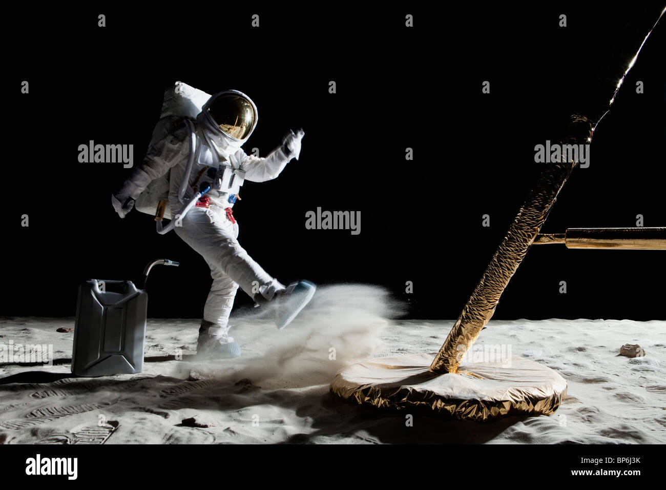 An angry astronaut out of gas on the moon - Stock Image