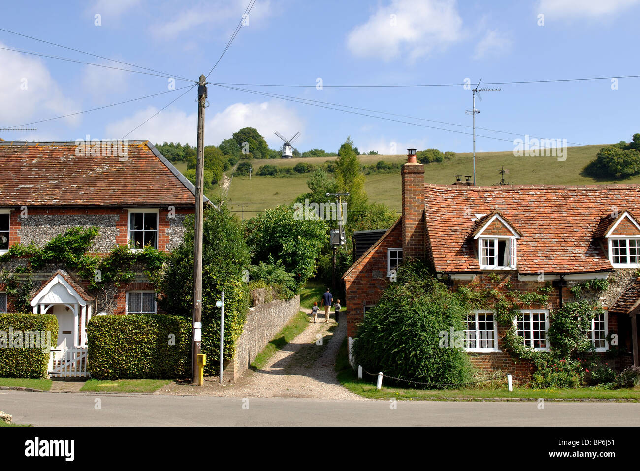 Turville village looking towards the windmill, Buckinghamshire, England, UK - Stock Image