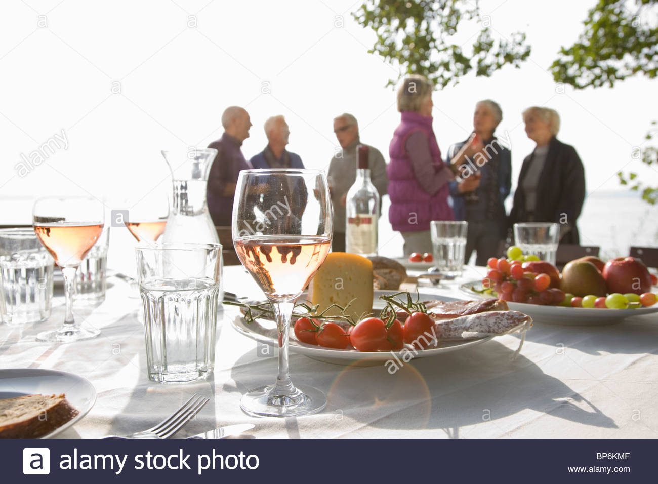 Six senior friend talking behind a table laid for lunch - Stock Image