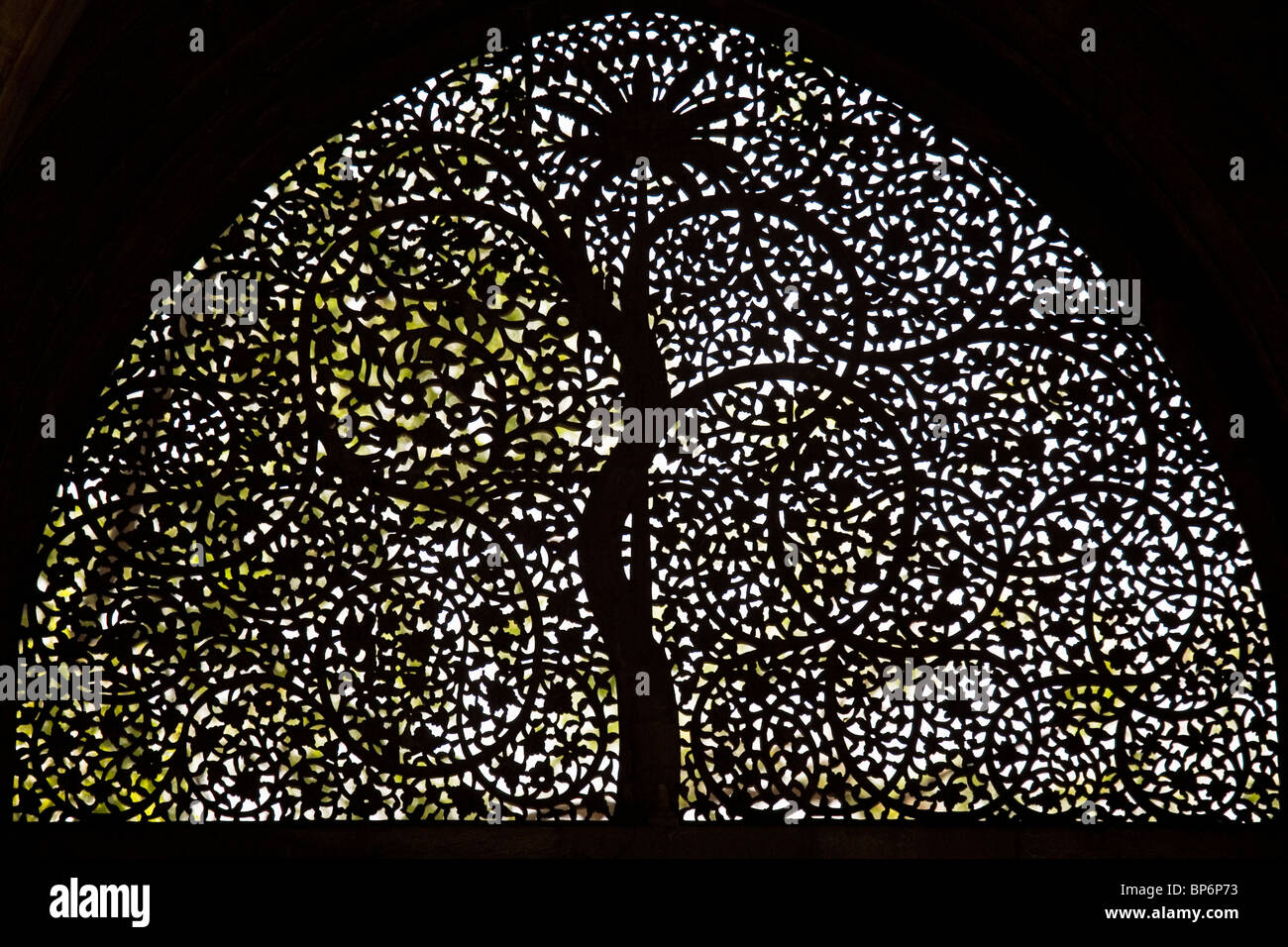 The famous Jali work of the screen in the Sidi Saiyyed Mosque in Ahmedabad, Gujarat, India. Stock Photo
