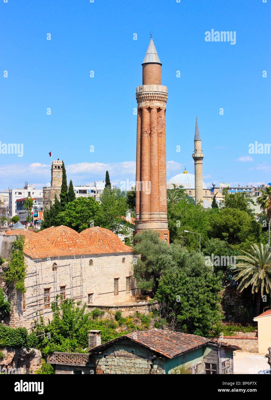 Yivli Minaret in the old town of Antalya, Turkey - Stock Image