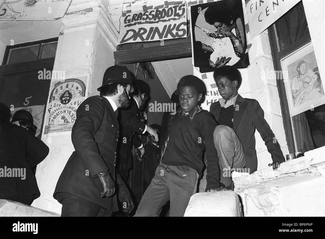 Police raid private house, All Saints Road during the Notting Hill Carnival London UK 1979. - Stock Image