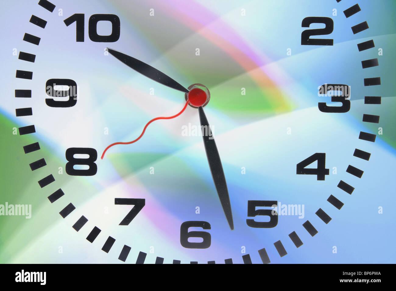Clock on Digital Background - Stock Image