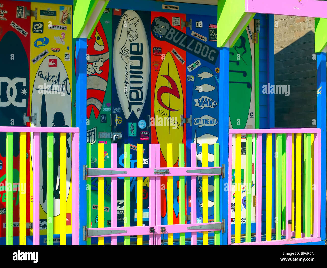 The front of a colorful,decorated beach hut on the promenade at Sutton-on-sea, Lincolnshire,UK. - Stock Image