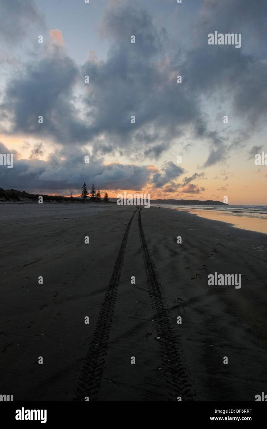 Tyre tracks on Ohope beach, Whakatane - Stock Image