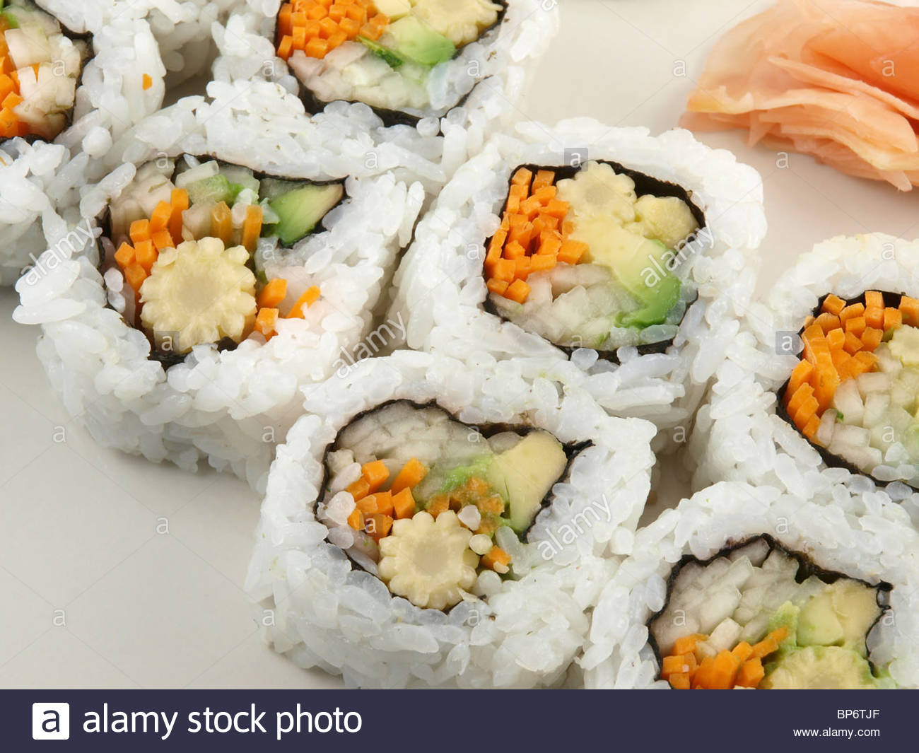 A tasty plate of Vegetarian Sushi with Ginger. - Stock Image