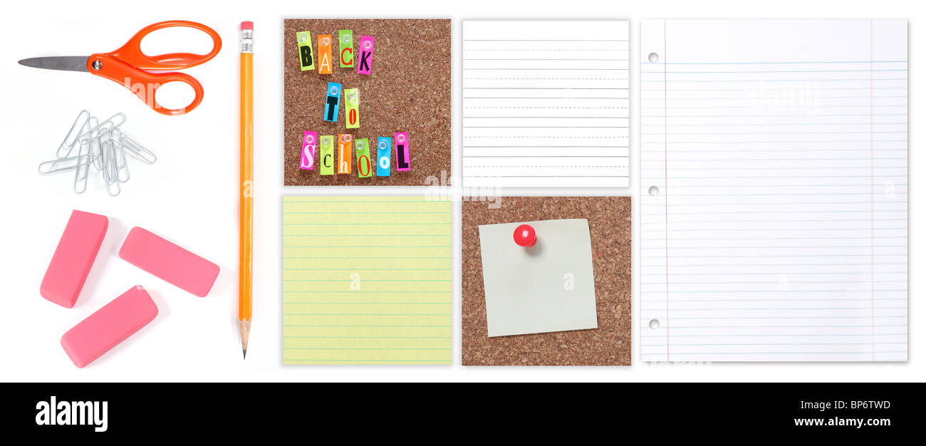 Back to School Student and Office Supplies on a White Background - Stock Image