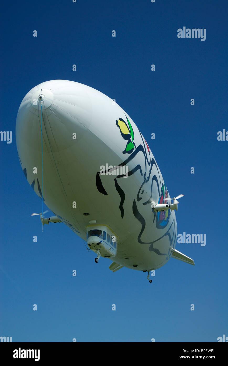 Airship dirigible Zeppelin NT, Friedrichshafen, Baden-Württemberg, Germany Stock Photo