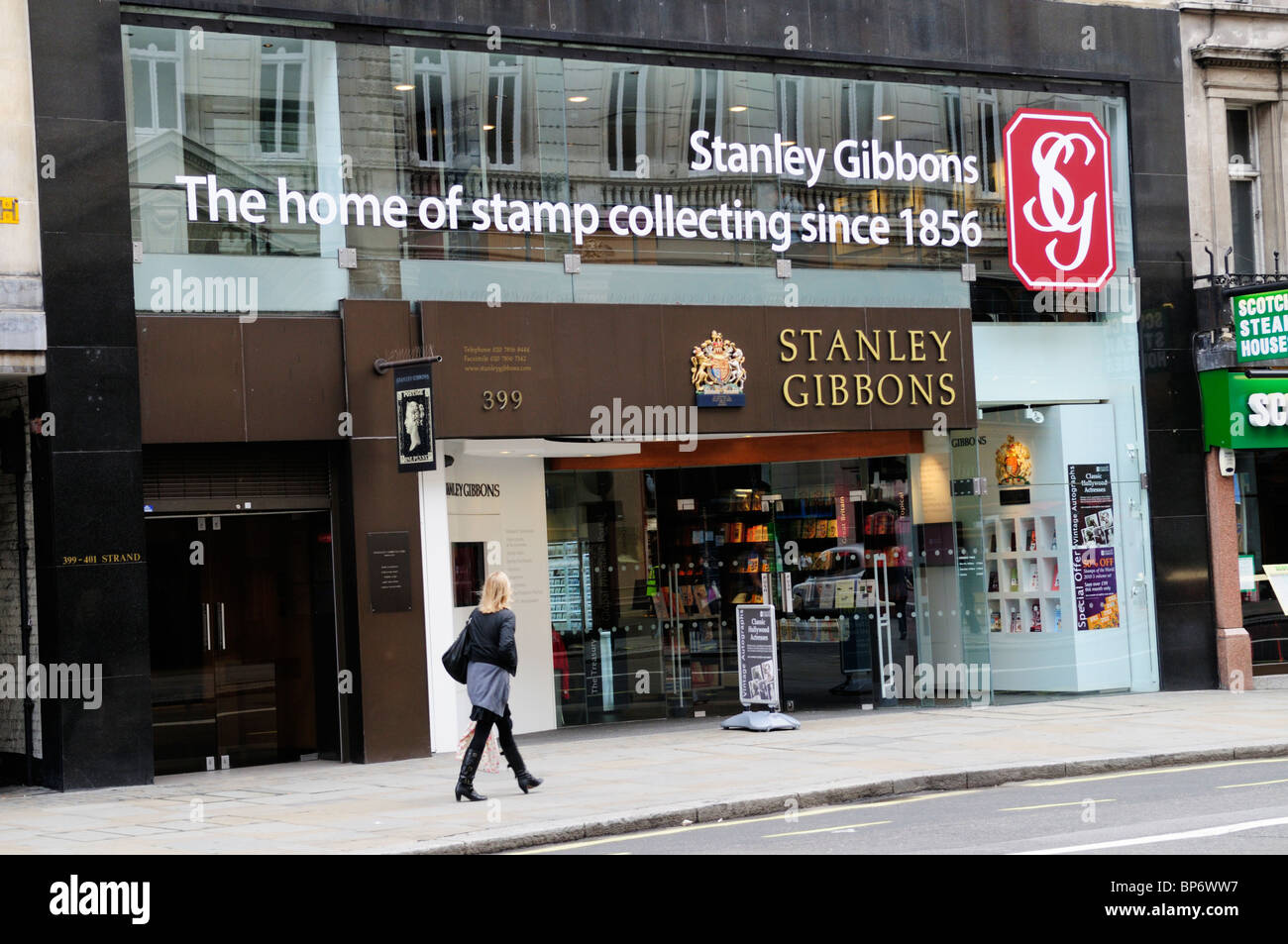 Stanley Gibbons Stamp Collecting Philately shop, The Strand, London, England, UK - Stock Image