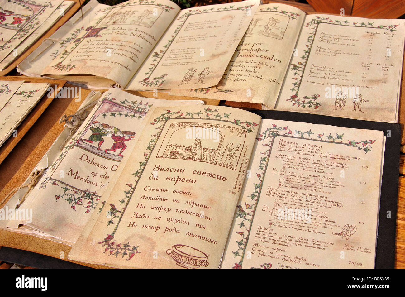 Restaurant menus in period script, Olde Haus Restaurant, Old