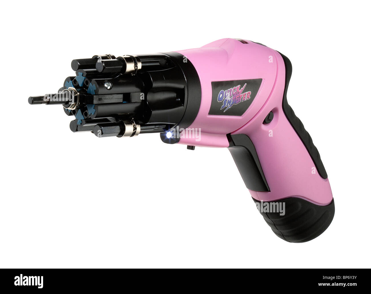 Pink electric powered rechargeable screwdriver - Stock Image