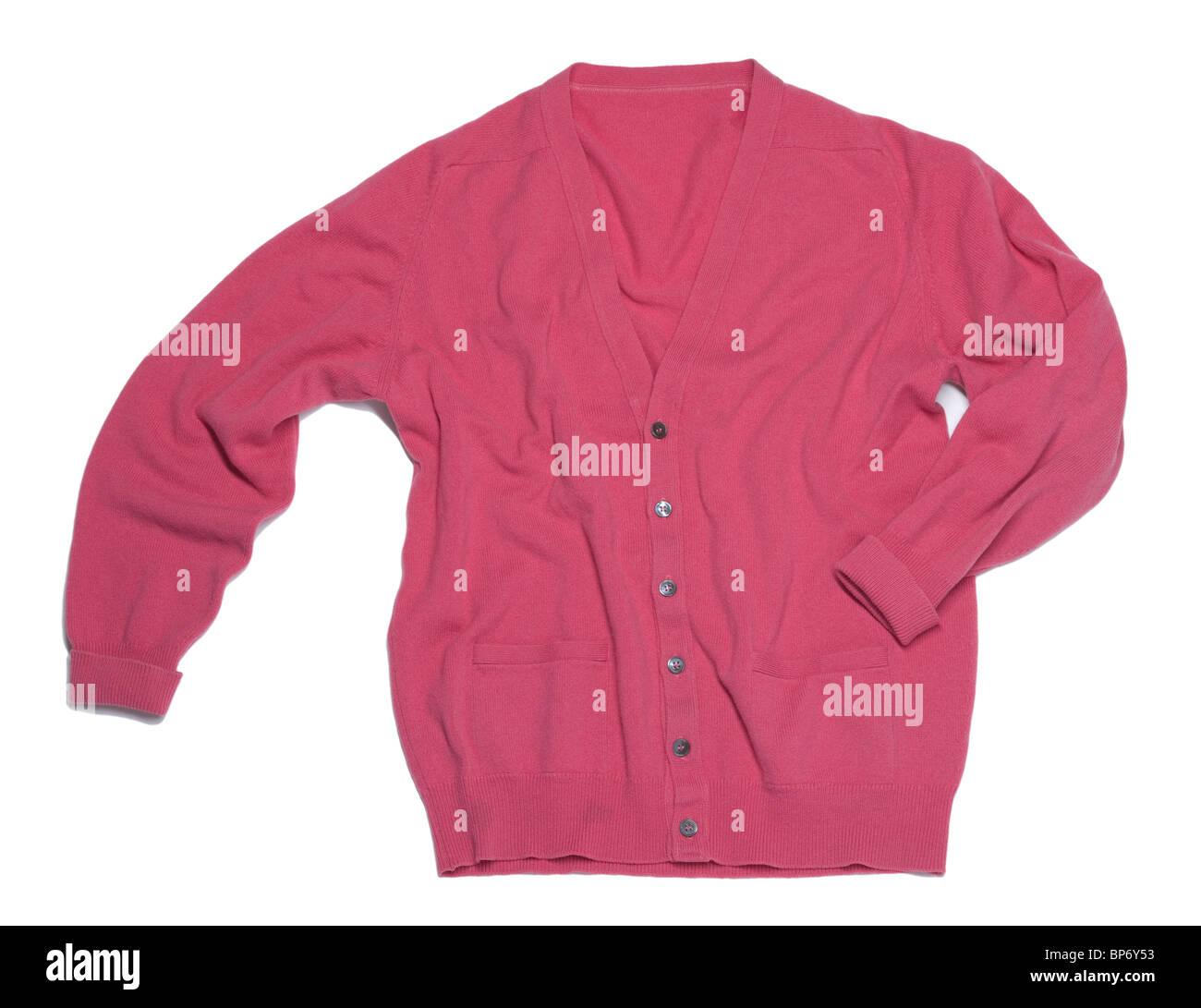 Pink woolen cardigan - Stock Image