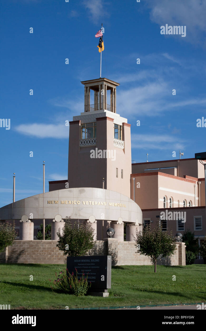 New Mexico Veterans Memorial in front of Bataan Memorial Building, the former capitol building, in Santa Fe, New - Stock Image