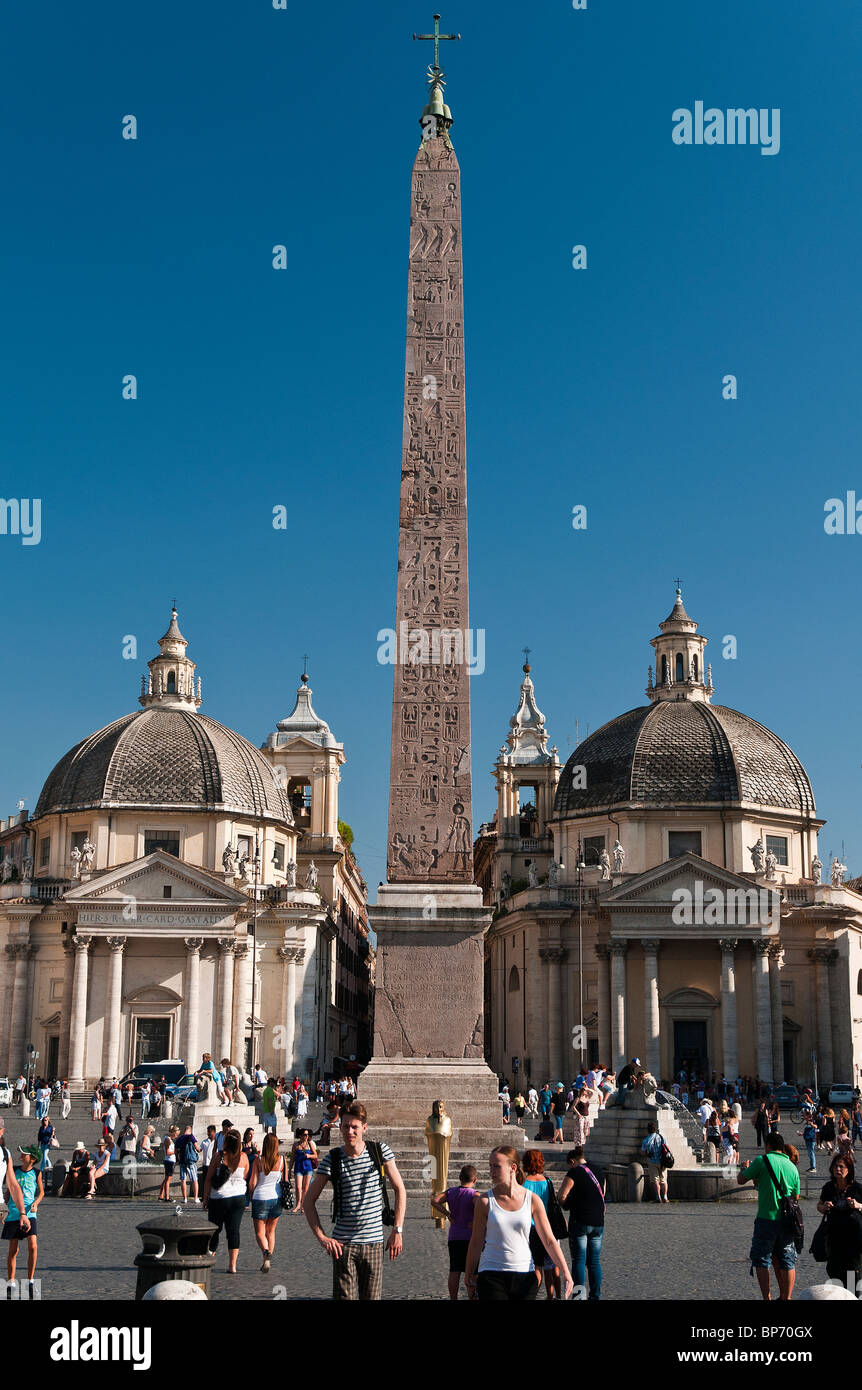 Piazza del Popolo square with the Egyptian obelisk of Ramesses II in the centre and the twin churches in the back, - Stock Image