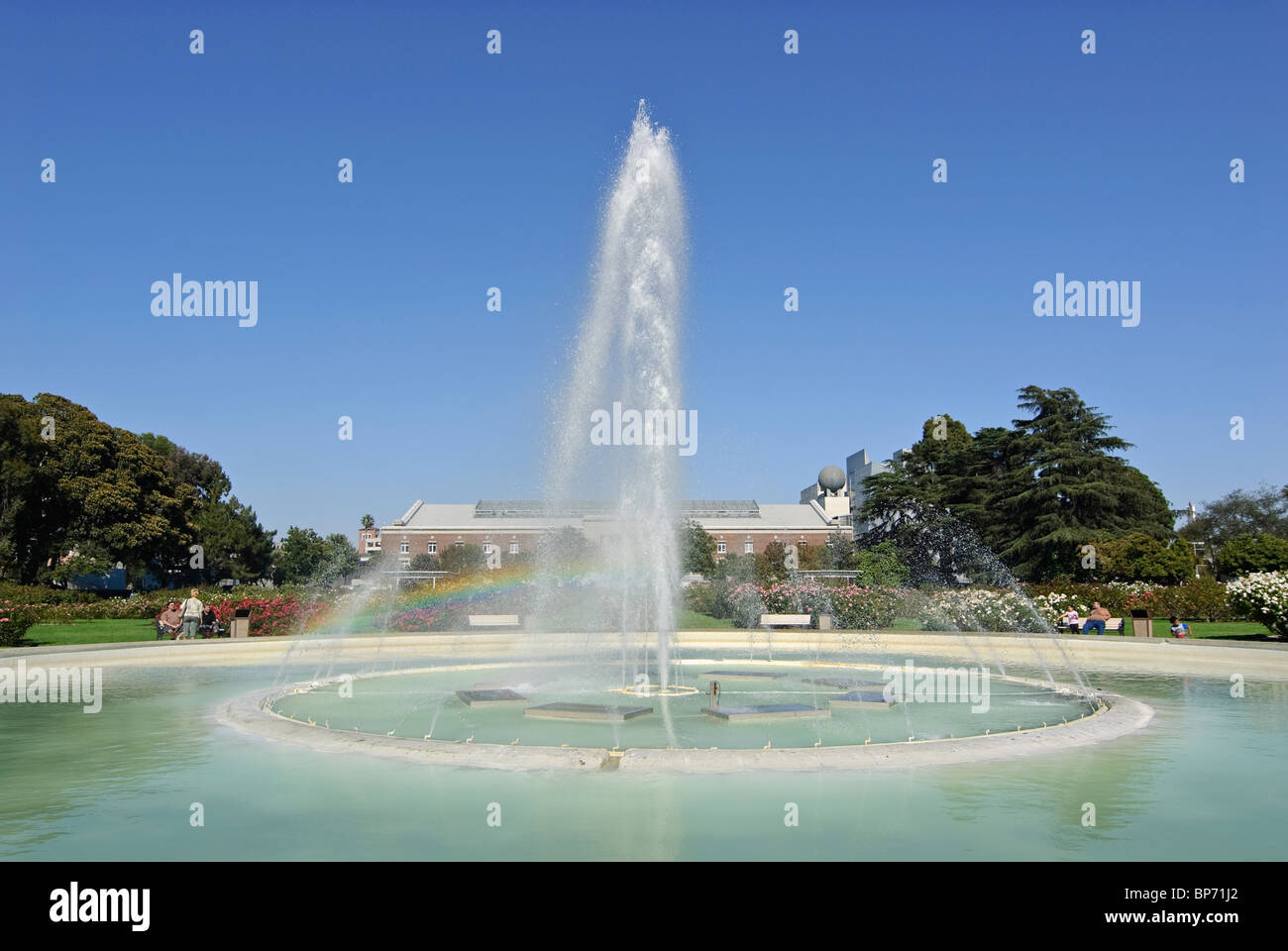 Central fountain of the Exposition Park Rose Garden in Los Angeles, CA. - Stock Image