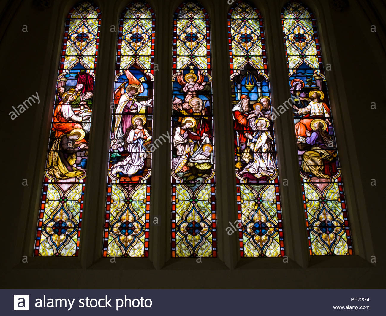 Andover St Mary's Stain Glass Window Hampshire England - Stock Image